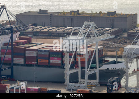 helicopter aerial view of  container ship at GCT Bayonne container terminal, Bayonne, Jersey City, New Jersey, USA - Stock Photo