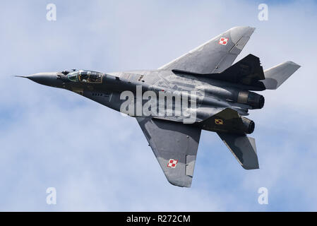 A Mikoyan MiG-29 Fulcrum multirole fighter jet of the Polish Air Force. - Stock Photo