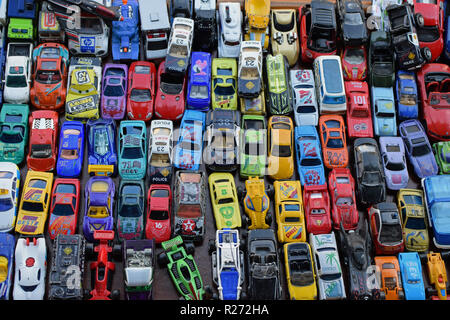 ATHENS, GREECE - SEPTEMBER 14, 2018: Vintage miniature toy cars background. Scale models collection at street market. - Stock Photo