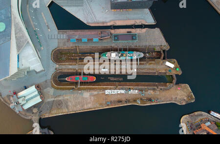 aerial shot of boats in dock - Stock Photo