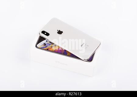 BURGAS, BULGARIA - NOVEMBER 8, 2018: Apple iPhone Xs Max Silver on white background, back view. - Stock Photo