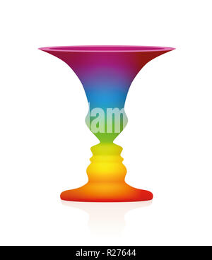 Optical illusion. Vase with two faces in profile. In psychology known as identifying figure from background. Rainbow colored three-dimensional vessel. - Stock Photo