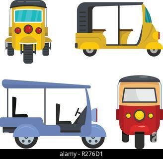 Tuk rickshaw Thailand icons set. Flat illustration of 4 tuk rickshaw Thailand vector icons for web - Stock Photo