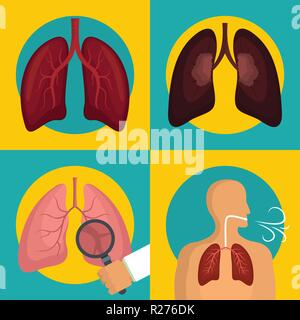 Lung organ human breathing icons set. Flat illustration of 4 lung organ human breathing vector icons for web - Stock Photo