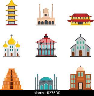 Temple tower castle icons set. Flat illustration of 9 temple tower castle vector icons for web - Stock Photo