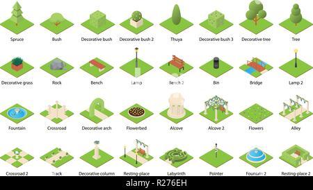 Park nature elements landscape design icons set. Isometric illustration of 32 park nature elements landscape vector icons for web - Stock Photo