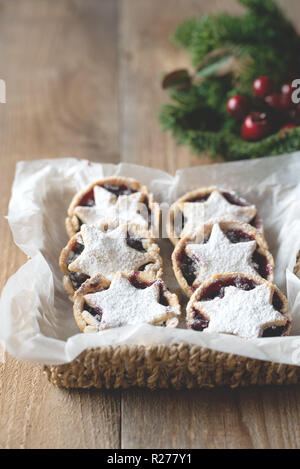 Mince pies - traditional Christmas food - Stock Photo