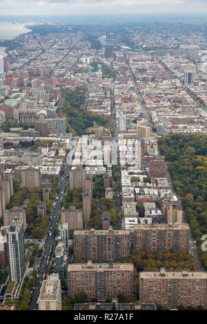 helicopter aerial view of upper West side, Manhattan, New York City, USA - Stock Photo