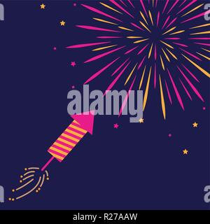 firecracker and firework in the dark sky pink and orange colored vector illustration EPS10 - Stock Photo