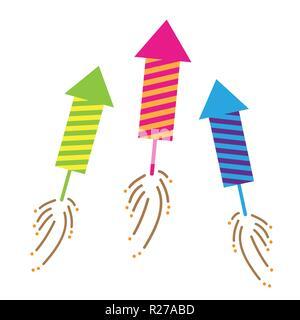 three colorful firecracker celebration set isolated on white background vector illustration EPS10 - Stock Photo