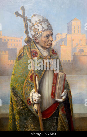 Portrait of Pope John XXII in Ceremonial Dress. Detail from Triptych Builders of the Papal Palace by Henri Rondel 1915-16. Papal Palace Avignon - Stock Photo