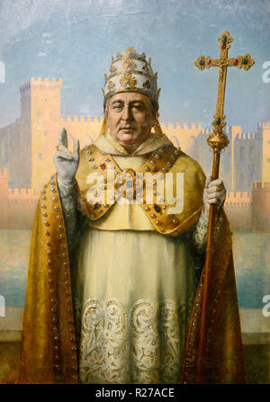 Portrait of Pope Benedict XII in Ceremonial Dress. Detail from Triptych Builders of the Papal Palace by Henri Rondel 1915-16. Papal Palace Avignon - Stock Photo