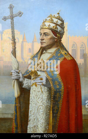 Portrait of Pope Clement VI in Ceremonial Dress. Detail from Triptych Builders of the Papal Palace by Henri Rondel 1915-16. Papal Palace Avignon - Stock Photo