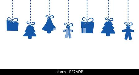 christmas hanging decoration blue star house man christmas tree bell vector illustration EPS10 - Stock Photo