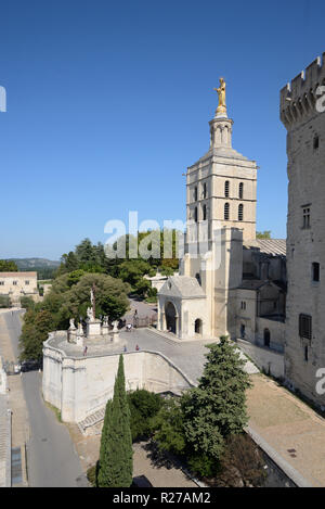 Notre Dame des Doms Church or Cathedral (c12th) Avignon Provence France - Stock Photo