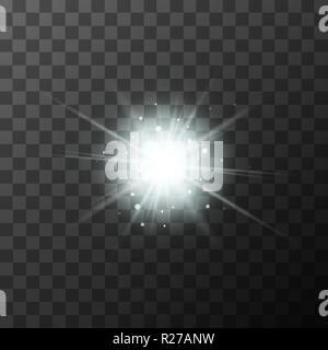 Bright starburst with white sparkles and magic light rays on transparent background - Stock Photo