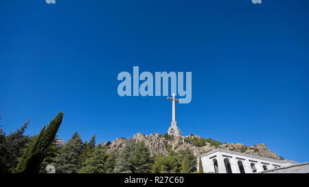 The Valley of the Fallen (Valle de los Caidos) monument and basilica in the Sierra de Guadarrama, near Madrid Spain. - Stock Photo