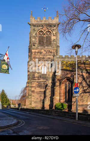 The clock tower at St Michael and All Angels church in Middlewich Cheshire UK - Stock Photo