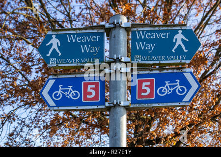 Weaver way sign post on bicycle route 5 in Winsford Cheshire UK - Stock Photo