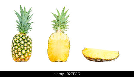 Pineapple composition collection in different variations isolated on white background. Whole, cut in half and a slice of pineapple. Clipping Path - Stock Photo