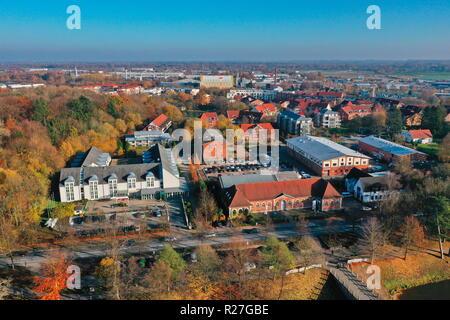 Ahrensburger Schloss, Schloss Ahrensburg aus der Luft - Stock Photo