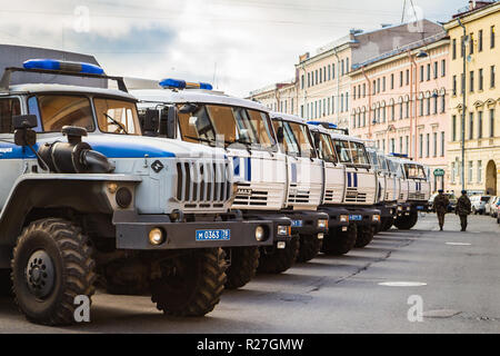 October 25, 2018 - Saint-Petersburg, Russia - riot police cars parked on a street - Stock Photo