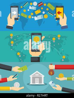 Money transaction around world banner concept set. Flat illustration of 3 money transaction around world vector banner horizontal concepts for web - Stock Photo