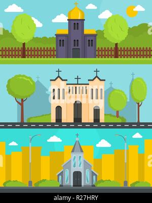 Church building banner concept set. Flat illustration of 3 church building world vector banner horizontal concepts for web - Stock Photo