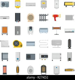 Electric heater device icons set. Flat illustration of 36 electric heater device vector icons for web - Stock Photo
