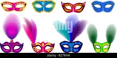 Carnival mask venetian mockup set. Realistic illustration of 8 carnival mask venetian mockups for web - Stock Photo