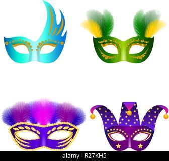 Carnival mask venetian mockup set. Realistic illustration of 4 carnival mask venetian mockups for web - Stock Photo