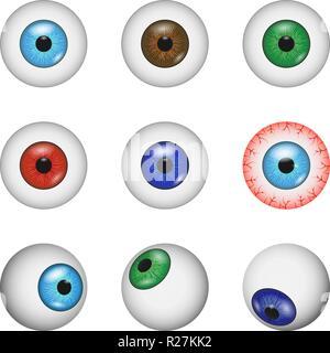 Eye ball anatomy mockup set. Realistic illustration of 9 eye ball anatomy mockups for web - Stock Photo