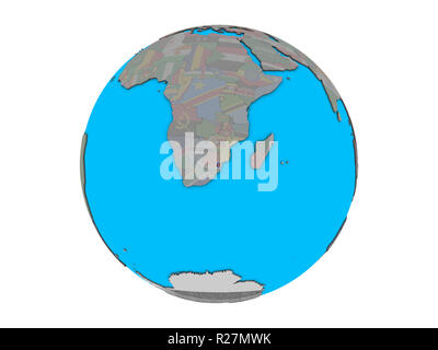 eSwatini with embedded national flag on blue political 3D globe. 3D illustration isolated on white background. - Stock Photo