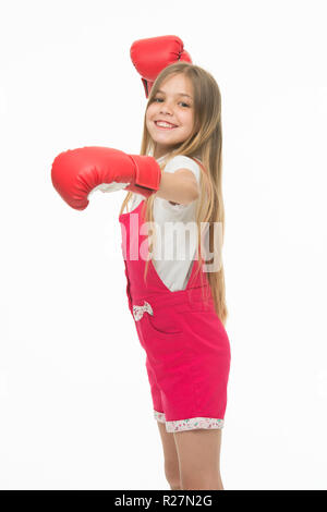 Little child smile in boxer isolated on white. Happy girl in boxing gloves. Kid ready to fight. I can defense myself. Sport workout and training. Punching. Childhood development and health - Stock Photo