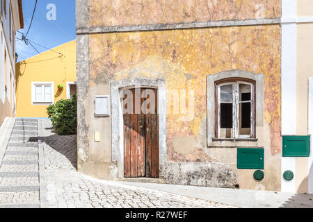 Street view old center of  Monchique in the Algarve in Portugal - Stock Photo