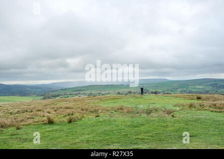 The rolling hills and moors of Yorkshire Dales National Park. Yorkshire is the largest and one of the most scenic counties in England - Stock Photo