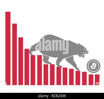 Bear moves Bitcoin down on graph, negative cryptocurrency market, white background - Stock Photo