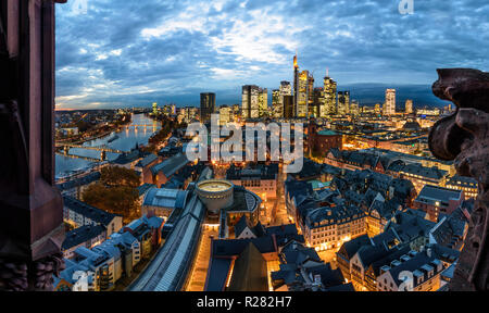 Frankfurt am Main: view from Dom (cathedral) to city center with Römer (Town Hall), St. Paul's Church, skyscrapers and high-rise office buildings in f