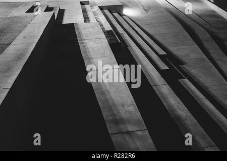 Stairs and shadows in the night, abstraction. Embankment of Il-Birgu, Malta - Stock Photo