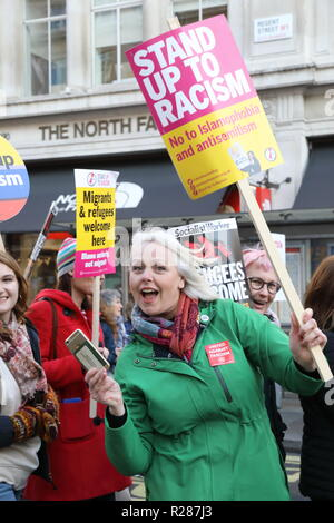 London, UK. 17th November 2018.  Protesters for Stand up to Racism and Unite against Facism, gathered on Portland Place to start marching down to Trafalgar Square in central London, UK Credit: Monica Wells/Alamy Live News - Stock Photo