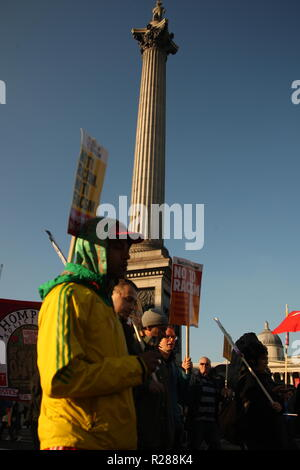 London, UK, 17th November 2018.Thousands of people take to the streets of London to protest against the growth of racism, hate crime and far-right extremism nationally and globally. The march sets out from Portland Place, where the BBC is based, before heading through London to Whitehall. The event is organised by Unite against Fascism, Stand Up to Racism and Love Music Hate Racism and backed by the TUC, which represents the UK's leading Trades Unions. Roland Ravenhill/Alamy Live News - Stock Photo