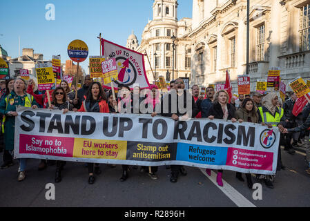 London, UK. 17th November 2018. National Unity Demonstration Against Racism and Fascism. The march proceeded from Portland Place, through Central London, to Westminster where a rally took place. Photo from the march pictured here. Hosted by Stand Up To Racism, LoveMusic HateRacism and Unite Against, Fascism. Credit: Stephen Bell/Alamy Live News. - Stock Photo