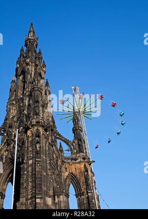 Edinburgh, Scotland, UK. 17 Nov. 2018. Edinburgh Christmas Market opens in Princes Street Gardens East together with the fun fair drawing hundreds of visitors, With a chilly temperature of 8 degrees and sun for the majority of the day it was good for getting out and about. - Stock Photo
