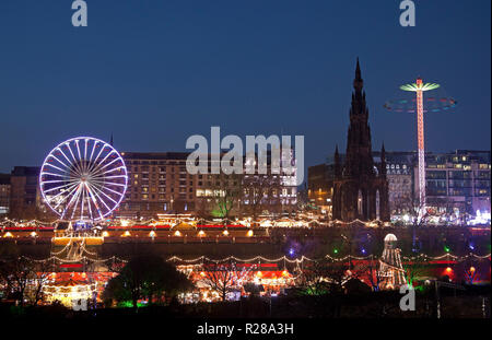 Edinburgh, Scotland, UK. 17 Nov. 2018. Edinburgh Christmas Market opens in Princes Street Gardens East together with the fun fair drawing hundreds of visitors, - Stock Photo