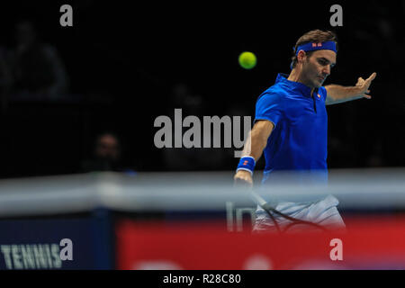 London, UK. 17th Nov, 2018.  Nitto ATP World Tour Finals;  Roger Federer of Switzerland  in action during their match against Alexander Zverev of Germany  Credit: Romena Fogliati/News Images Credit: News Images /Alamy Live News - Stock Photo