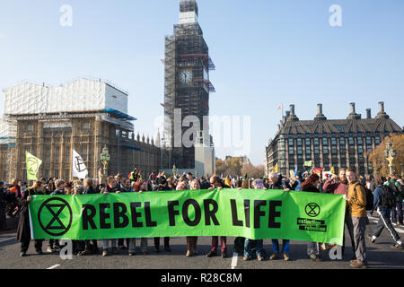 London, UK. 17th November, 2018. Environmental campaigners from Extinction Rebellion block Westminster Bridge, one of five bridges blocked in central London, as part of a Rebellion Day event to highlight 'criminal inaction in the face of climate change catastrophe and ecological collapse' by the UK Government as part of a programme of civil disobedience during which scores of campaigners have been arrested. Credit: Mark Kerrison/Alamy Live News