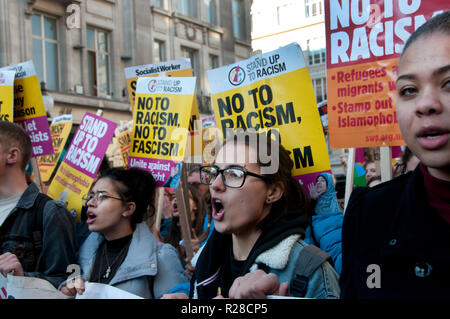 London, UK. 17th Nov, 2018. National Unity Demonstration Against Fascism & Racism, Central London on 17th November 2018 to protest against racist and Islamophobic attacks. A group of young women shout. Credit: Jenny Matthews/Alamy Live News - Stock Photo