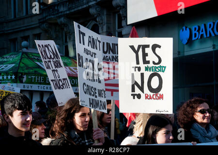 London, UK. 17th Nov, 2018. National Unity Demonstration Against Fascism & Racism, Central London on 17th November 2018 to protest against racist and Islamophobic attacks. Credit: Jenny Matthews/Alamy Live News - Stock Photo
