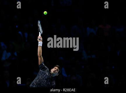 London, UK. 17th Nov, 2018. 17th November 2018, O2 Arena, London, England; Nitto ATP Tennis Finals; Novak Djokovic (SRB) serves to Kevin Anderson (RSA) Credit: Action Plus Sports Images/Alamy Live News - Stock Photo