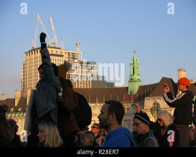 London, UK. 17th Nov, 2018. Climate change protesters from the organisation 'Extinction Rebellion' on Westminster Bridge, London; one of several demonstrations on 17 November 2018 Credit: Kay Ringwood/Alamy Live News - Stock Photo